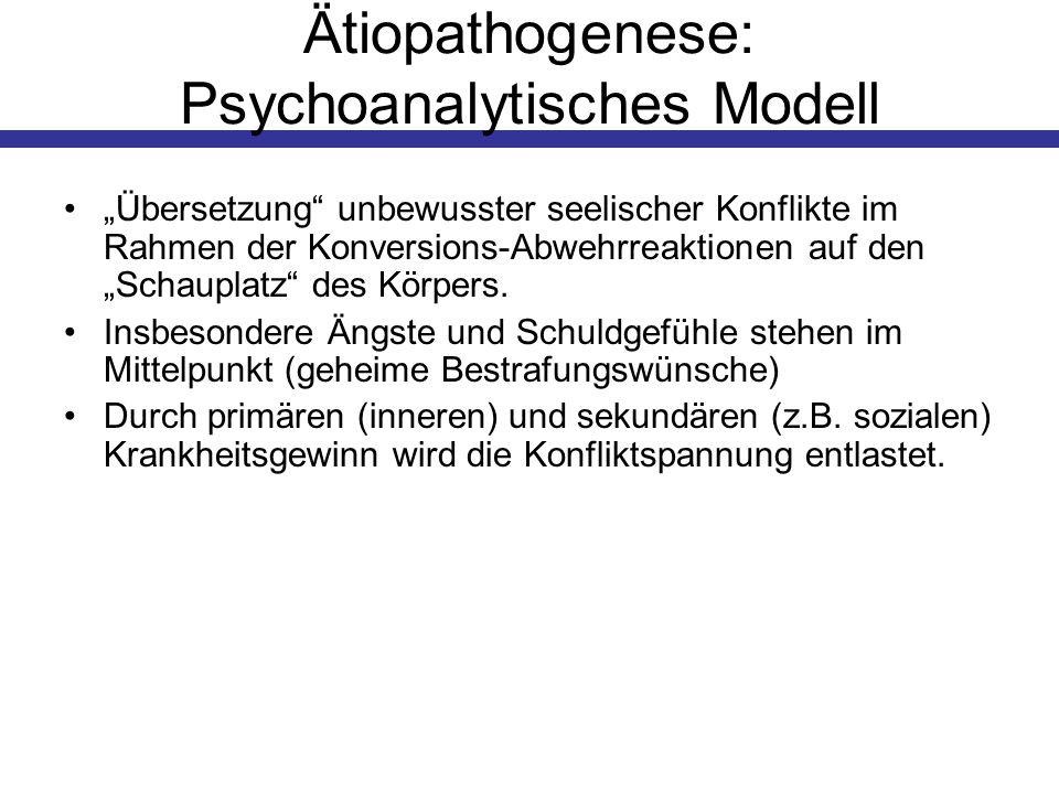 Ätiopathogenese: Psychoanalytisches Modell Übersetzung unbewusster seelischer Konflikte im Rahmen der Konversions-Abwehrreaktionen auf den Schauplatz