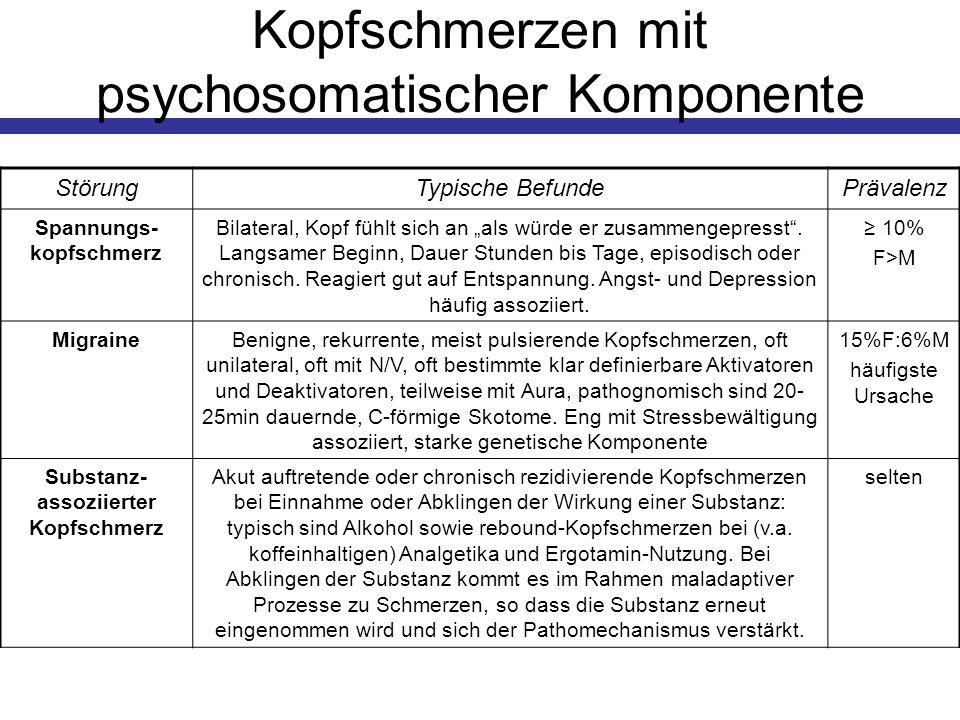 Kopfschmerzen mit psychosomatischer Komponente StörungTypische BefundePrävalenz Spannungs- kopfschmerz Bilateral, Kopf fühlt sich an als würde er zusa