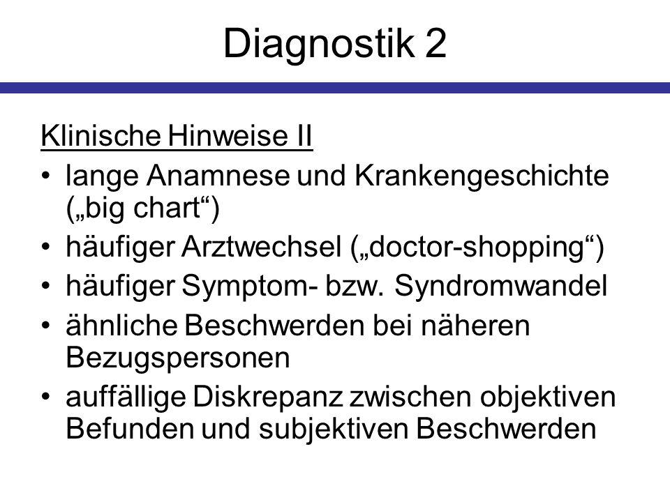 Diagnostik 2 Klinische Hinweise II lange Anamnese und Krankengeschichte (big chart) häufiger Arztwechsel (doctor-shopping) häufiger Symptom- bzw. Synd