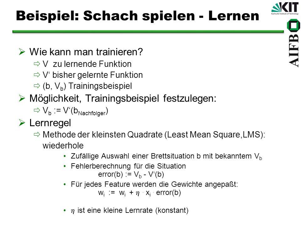 Beispiel: Schach spielen - Lernen Wie kann man trainieren? V zu lernende Funktion V bisher gelernte Funktion (b, V b ) Trainingsbeispiel Möglichkeit,