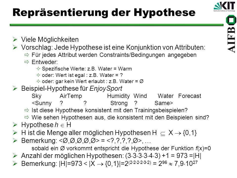 Repräsentierung der Hypothese Viele Möglichkeiten Vorschlag: Jede Hypothese ist eine Konjunktion von Attributen: Für jedes Attribut werden Constraints