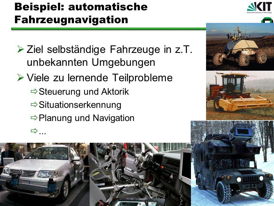 Beispiel: automatische Fahrzeugnavigation Ziel selbständige Fahrzeuge in z.T. unbekannten Umgebungen Viele zu lernende Teilprobleme Steuerung und Akto