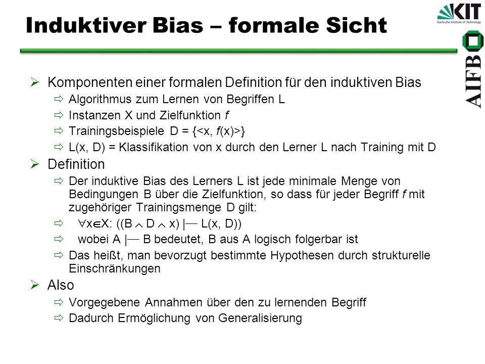 Induktiver Bias – formale Sicht Komponenten einer formalen Definition für den induktiven Bias Algorithmus zum Lernen von Begriffen L Instanzen X und Z