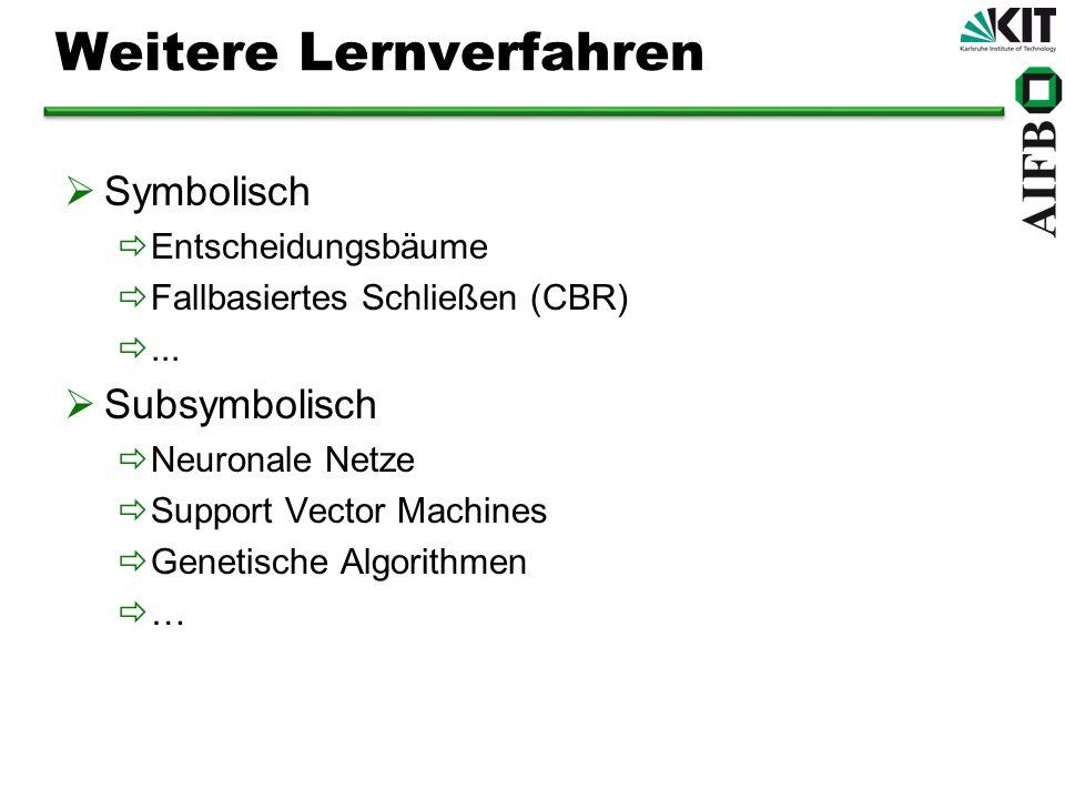 Weitere Lernverfahren Symbolisch Entscheidungsbäume Fallbasiertes Schließen (CBR)... Subsymbolisch Neuronale Netze Support Vector Machines Genetische
