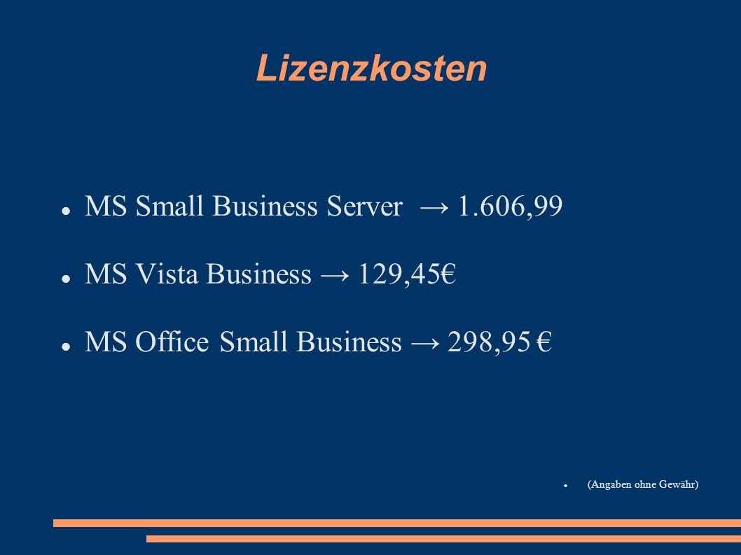 Lizenzkosten MS Small Business Server 1.606,99 MS Vista Business 129,45 MS Office Small Business 298,95 (Angaben ohne Gewähr)