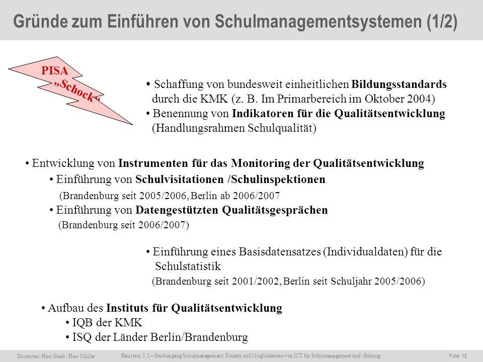 Dozenten: Herr Rainer Gierk Folie 15Baustein 5.1 - Einsatz und Möglichkeiten von ICT für Schulmanagement und –führung, WS 2007/08, WIB e.V. Dozenten:
