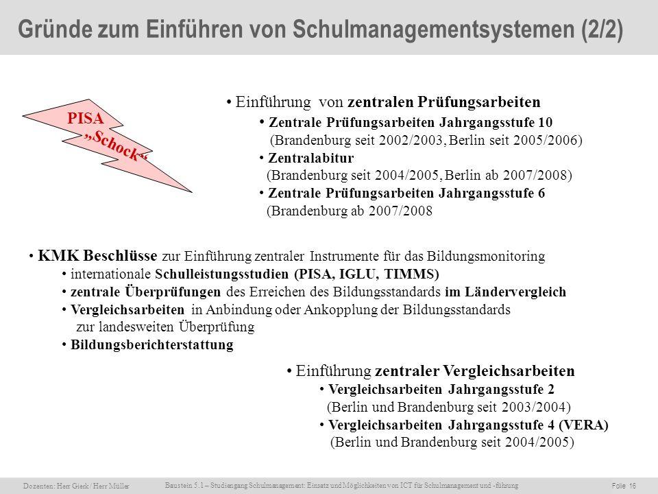 Dozenten: Herr Rainer Gierk Folie 16Baustein 5.1 - Einsatz und Möglichkeiten von ICT für Schulmanagement und –führung, WS 2007/08, WIB e.V. Dozenten: