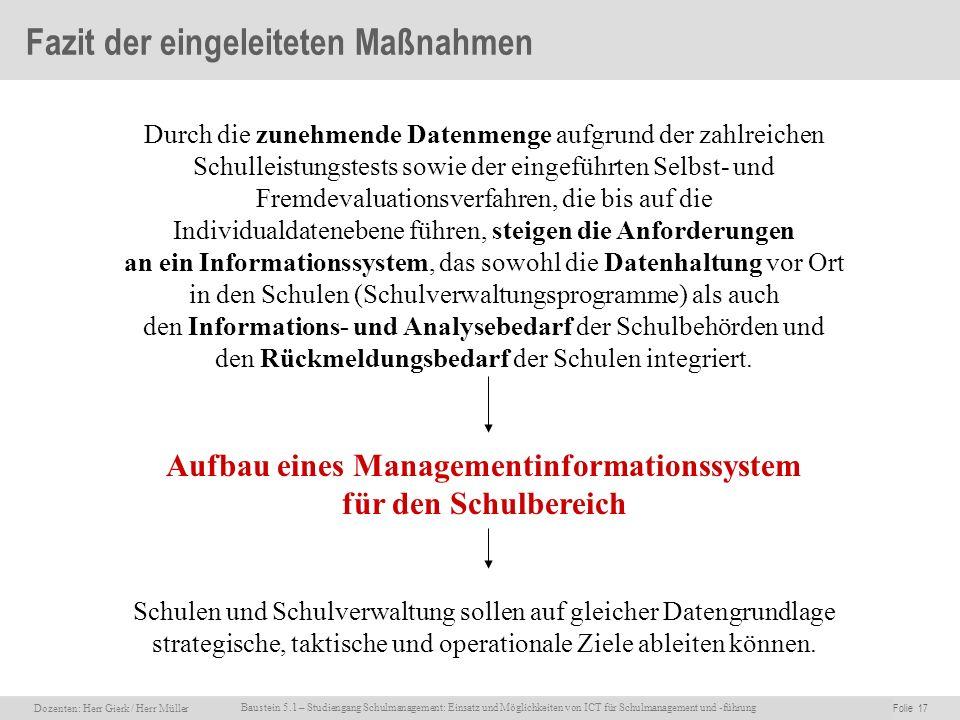 Dozenten: Herr Rainer Gierk Folie 17Baustein 5.1 - Einsatz und Möglichkeiten von ICT für Schulmanagement und –führung, WS 2007/08, WIB e.V. Dozenten: