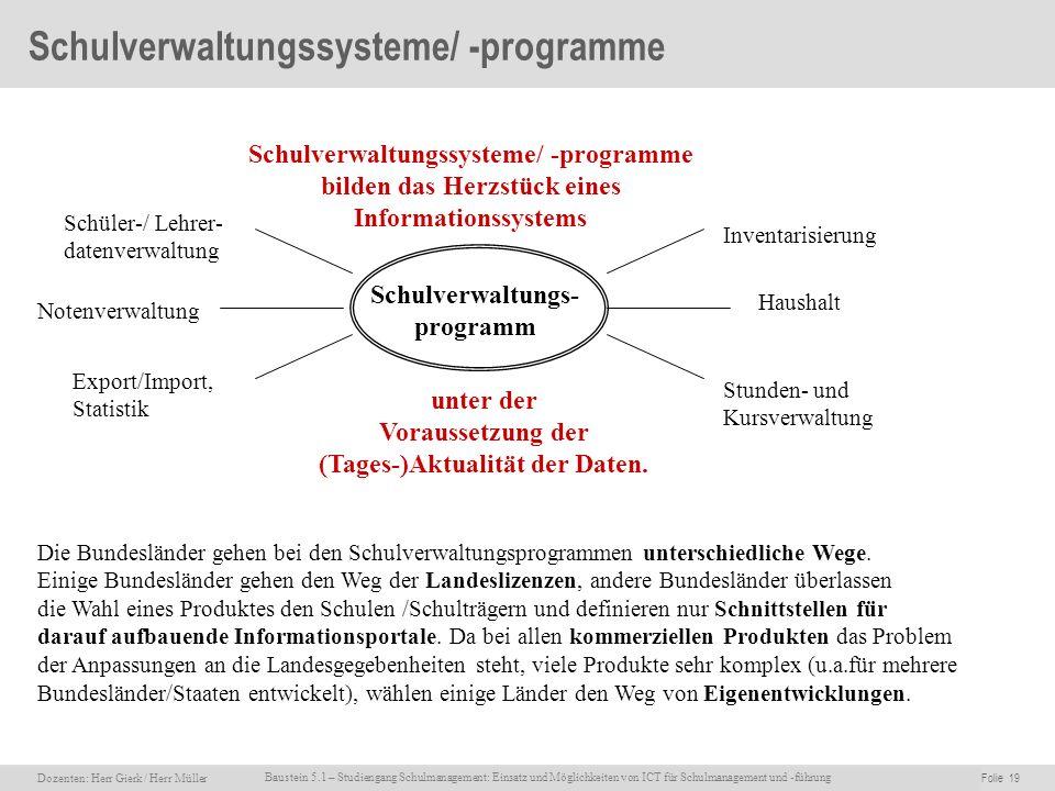 Dozenten: Herr Rainer Gierk Folie 19Baustein 5.1 - Einsatz und Möglichkeiten von ICT für Schulmanagement und –führung, WS 2007/08, WIB e.V. Dozenten: