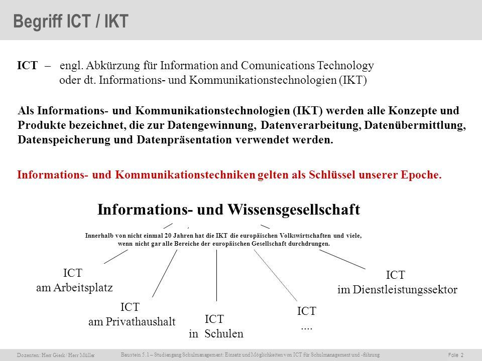 Dozenten: Herr Rainer Gierk Folie 2Baustein 5.1 - Einsatz und Möglichkeiten von ICT für Schulmanagement und –führung, WS 2007/08, WIB e.V. Dozenten: H