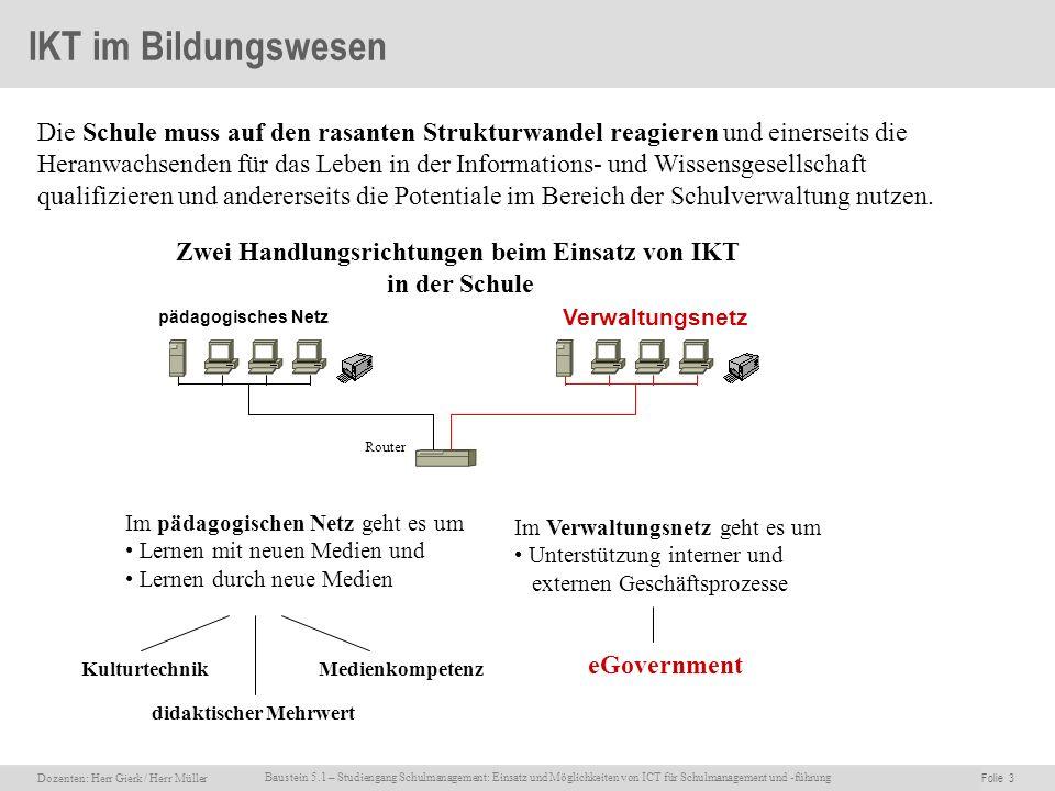 Dozenten: Herr Rainer Gierk Folie 3Baustein 5.1 - Einsatz und Möglichkeiten von ICT für Schulmanagement und –führung, WS 2007/08, WIB e.V. Dozenten: H