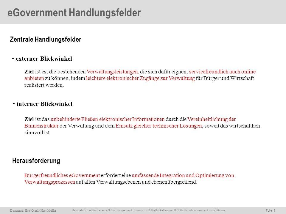 Dozenten: Herr Rainer Gierk Folie 5Baustein 5.1 - Einsatz und Möglichkeiten von ICT für Schulmanagement und –führung, WS 2007/08, WIB e.V. Dozenten: H
