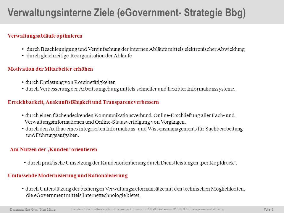 Dozenten: Herr Rainer Gierk Folie 8Baustein 5.1 - Einsatz und Möglichkeiten von ICT für Schulmanagement und –führung, WS 2007/08, WIB e.V. Dozenten: H