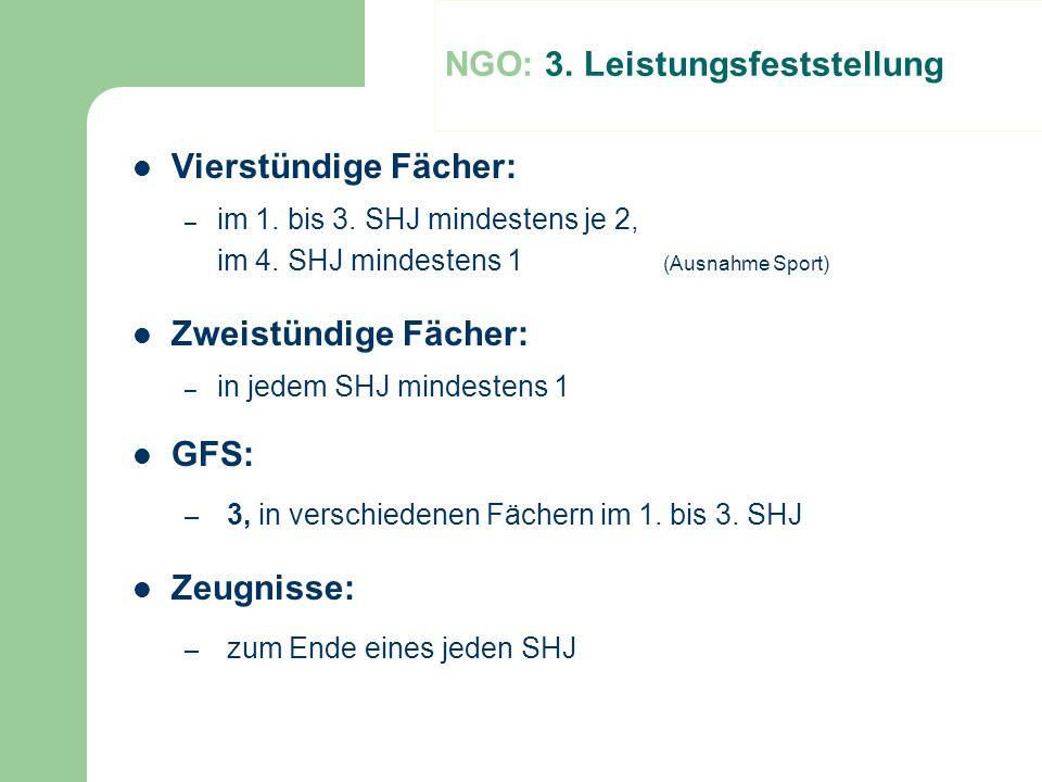 NGO: 3. Leistungsfeststellung Vierstündige Fächer: – im 1. bis 3. SHJ mindestens je 2, im 4. SHJ mindestens 1 (Ausnahme Sport) Zweistündige Fächer: –