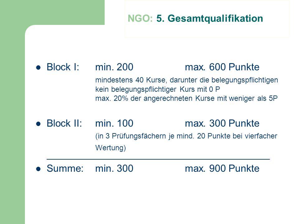 Block I:min. 200max. 600 Punkte mindestens 40 Kurse, darunter die belegungspflichtigen kein belegungspflichtiger Kurs mit 0 P max. 20% der angerechnet