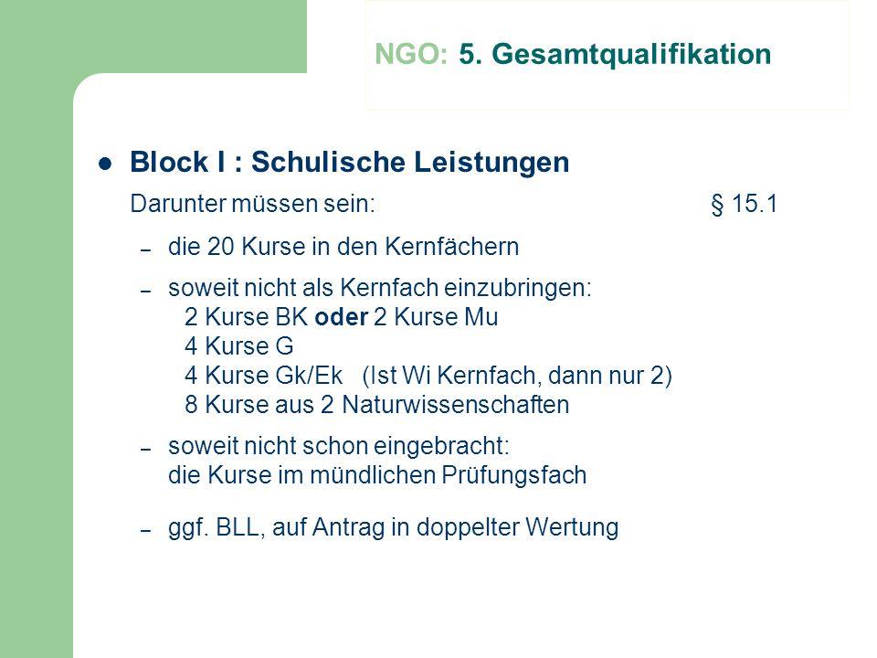 Block I : Schulische Leistungen Darunter müssen sein:§ 15.1 – die 20 Kurse in den Kernfächern – soweit nicht als Kernfach einzubringen: 2 Kurse BK ode