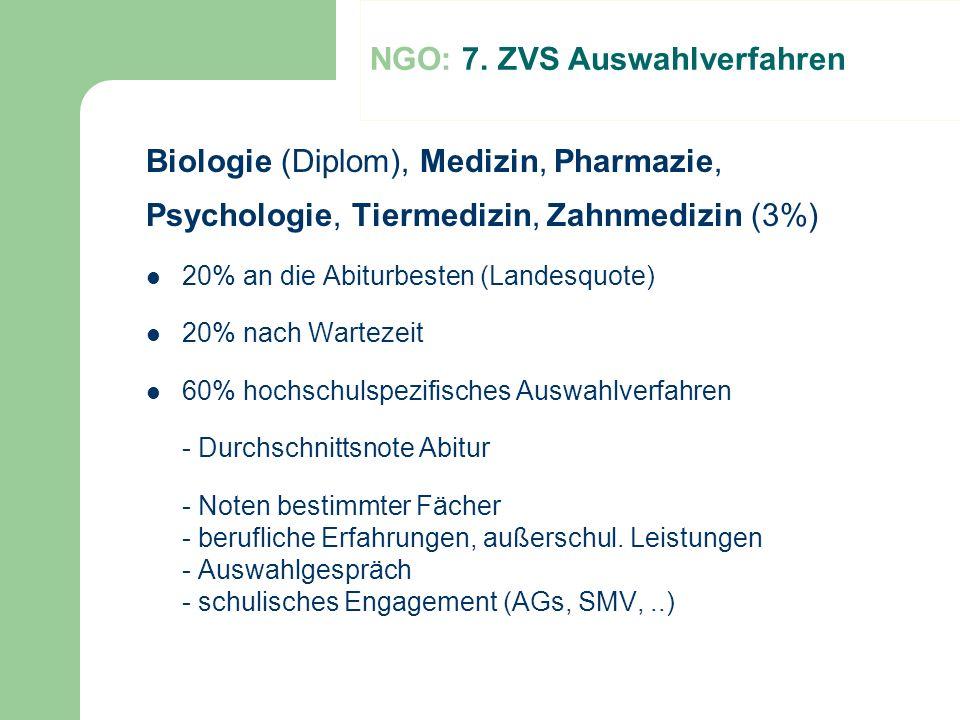 NGO: 7. ZVS Auswahlverfahren Biologie (Diplom), Medizin, Pharmazie, Psychologie, Tiermedizin, Zahnmedizin (3%) 20% an die Abiturbesten (Landesquote) 2