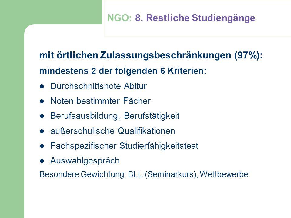 NGO: 8. Restliche Studiengänge mit örtlichen Zulassungsbeschränkungen (97%): mindestens 2 der folgenden 6 Kriterien: Durchschnittsnote Abitur Noten be