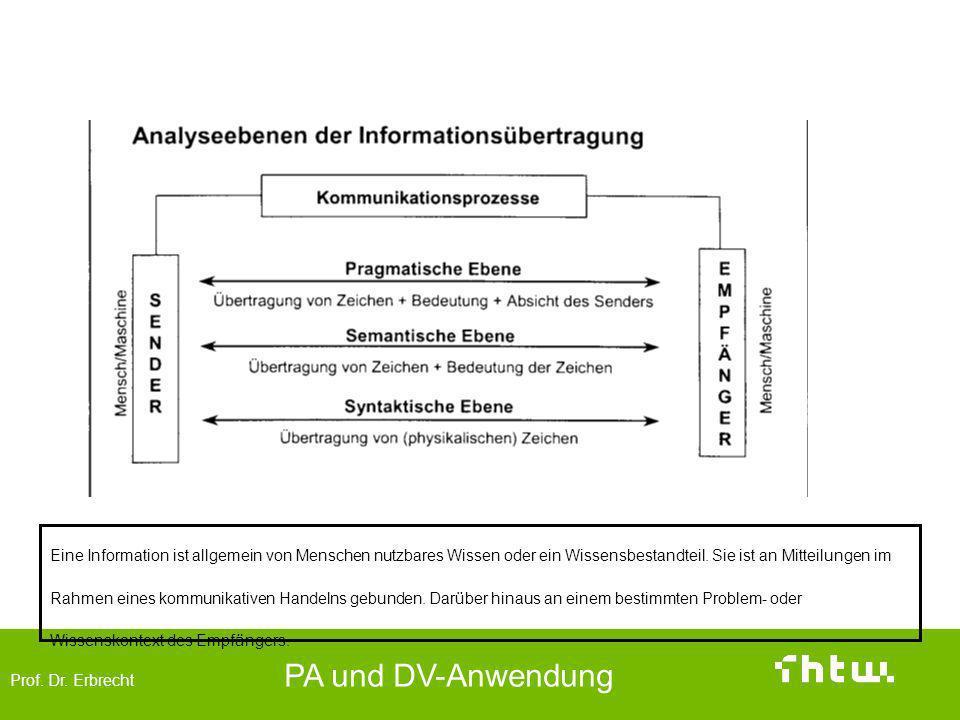 Prof. Dr. Erbrecht PA und DV-Anwendung Ebenen und Abgrenzung von Informationen Eine Information ist allgemein von Menschen nutzbares Wissen oder ein W
