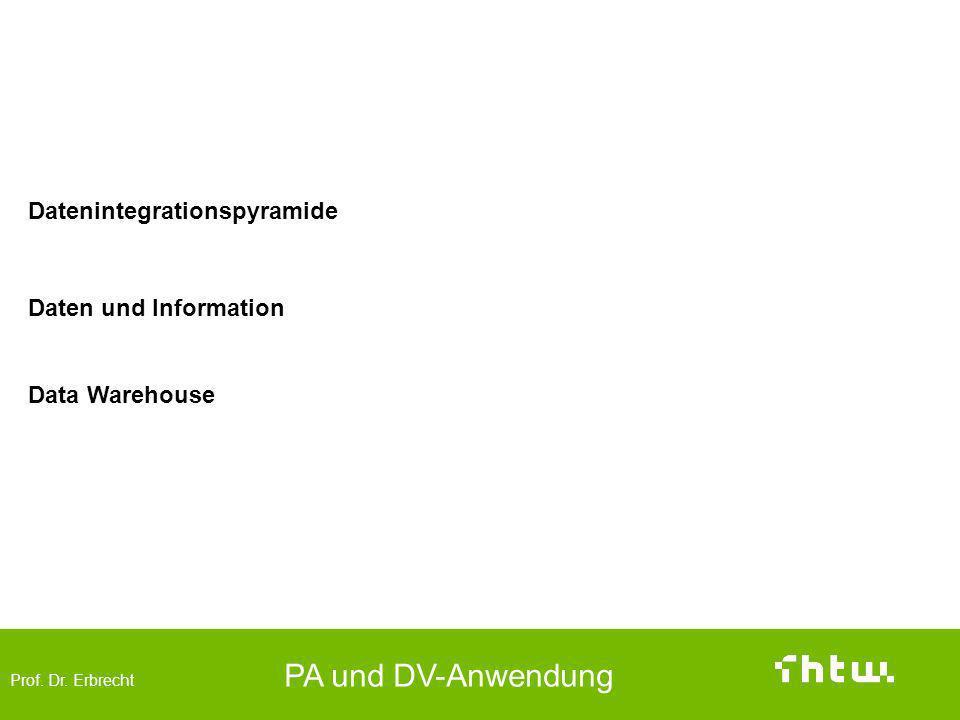 Prof. Dr. Erbrecht PA und DV-Anwendung Database and Data Warehouse Datenintegrationspyramide Daten und Information Data Warehouse