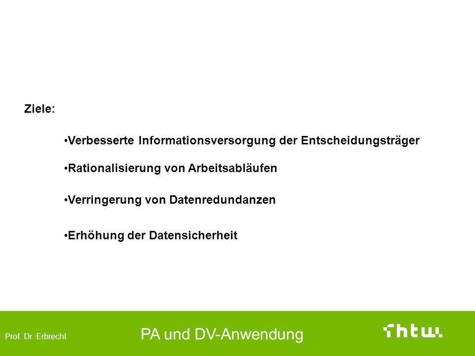 Prof. Dr. Erbrecht PA und DV-Anwendung Ziele und Aufgaben einer Datenintegration Verbesserte Informationsversorgung der Entscheidungsträger Ziele: Ver