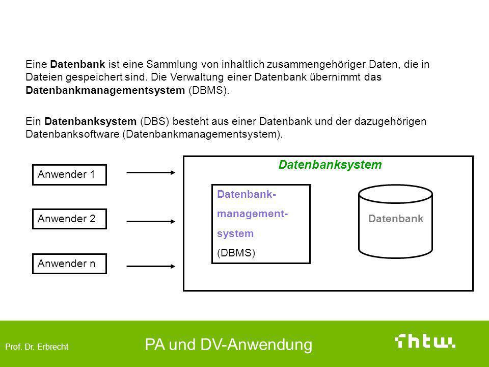 Prof. Dr. Erbrecht PA und DV-Anwendung Datenbanken (data base) Datenbank- management- system (DBMS) Datenbank Anwender 1 Anwender 2 Anwender n Eine Da