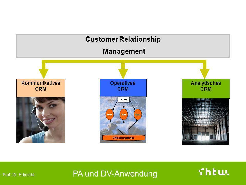 Prof. Dr. Erbrecht PA und DV-Anwendung Analytisches, Operatives und kommunikatives CRM Operatives CRM Analytisches CRM Kommunikatives CRM Customer Rel