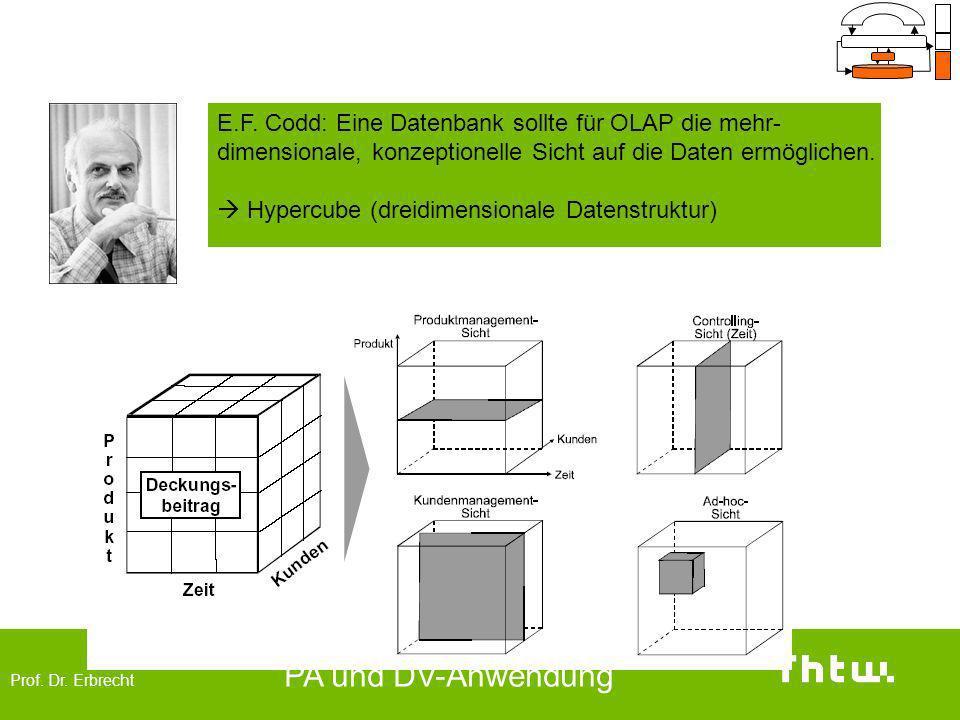 Prof. Dr. Erbrecht PA und DV-Anwendung OLAP (On-Line Analytical Processing) E.F. Codd: Eine Datenbank sollte für OLAP die mehr- dimensionale, konzepti