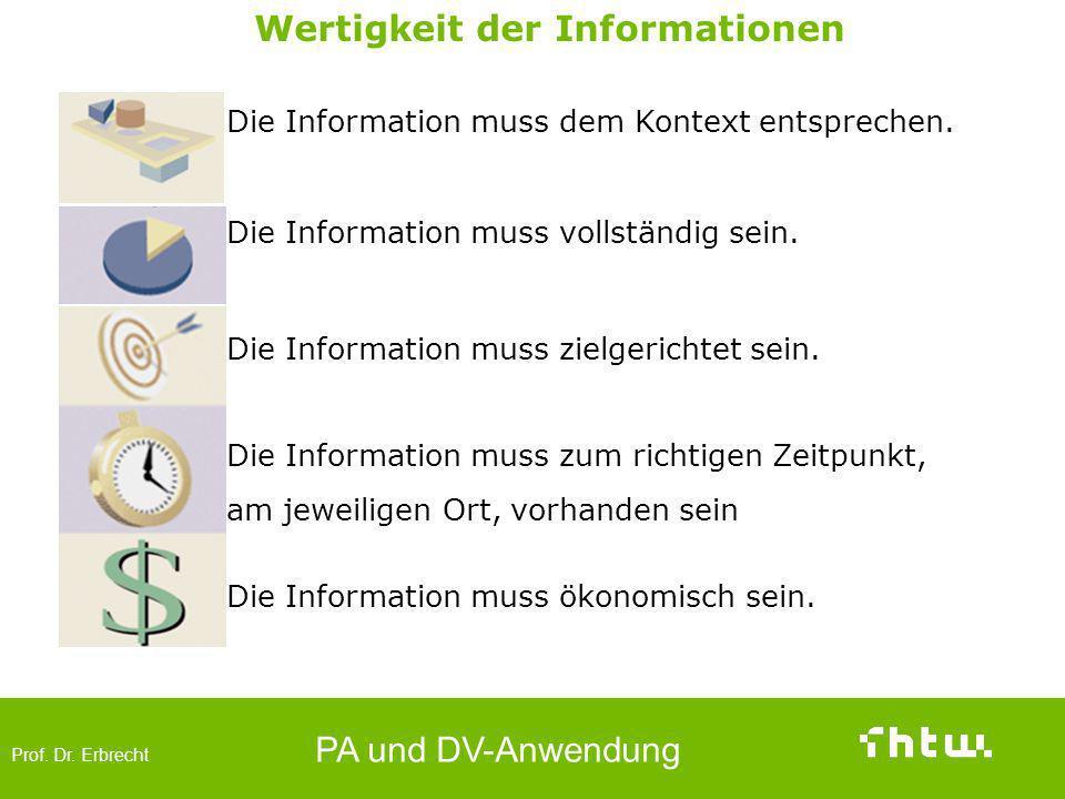 Prof. Dr. Erbrecht PA und DV-Anwendung Betriebliche Anwendersysteme (Funktionsprinzip) Wertigkeit der Informationen Die Information muss dem Kontext e