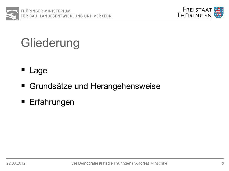 23 22.03.2012Die Demografiestrategie Thüringens / Andreas Minschke Erfahrungen II Chancenorientierte Kommunikation notwendig.