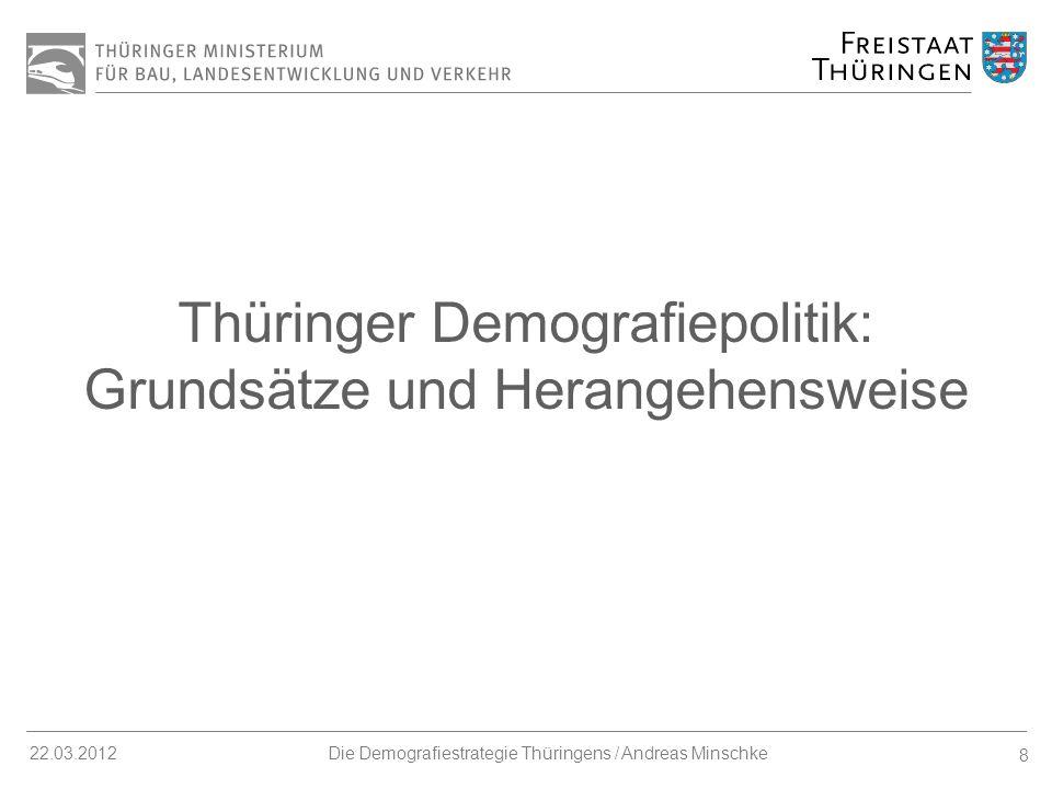 9 22.03.2012Die Demografiestrategie Thüringens / Andreas Minschke 1.