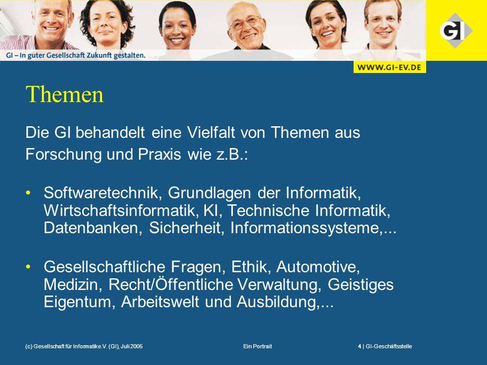 Ein Portrait4 | GI-Geschäftsstelle(c) Gesellschaft für Informatike.V. (GI), Juli 2005 Themen Die GI behandelt eine Vielfalt von Themen aus Forschung u