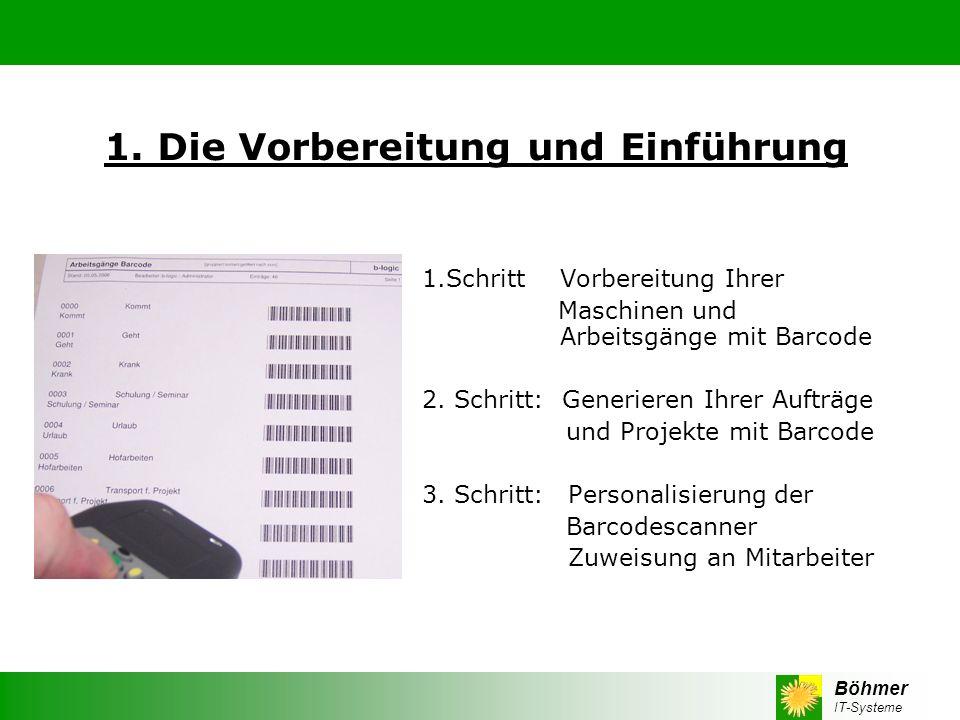 Böhmer IT-Systeme 1. Die Vorbereitung und Einführung 1.Schritt Vorbereitung Ihrer Maschinen und Arbeitsgänge mit Barcode 2. Schritt: Generieren Ihrer