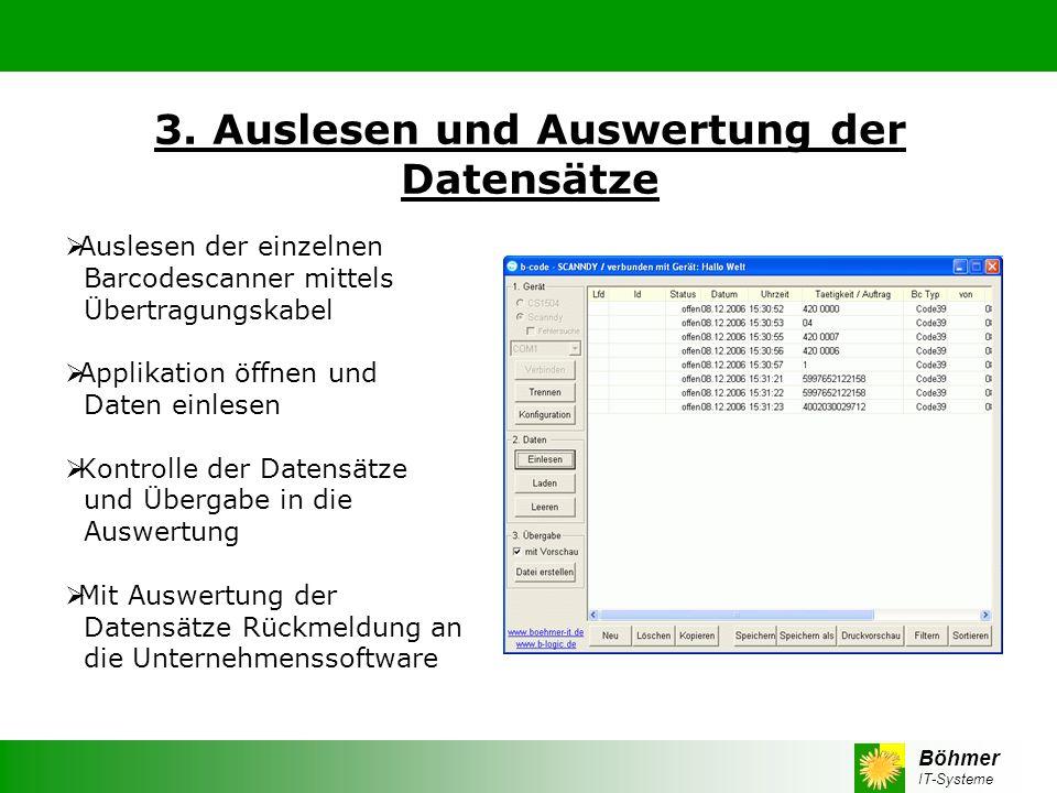 Böhmer IT-Systeme 3. Auslesen und Auswertung der Datensätze Auslesen der einzelnen Barcodescanner mittels Übertragungskabel Applikation öffnen und Dat