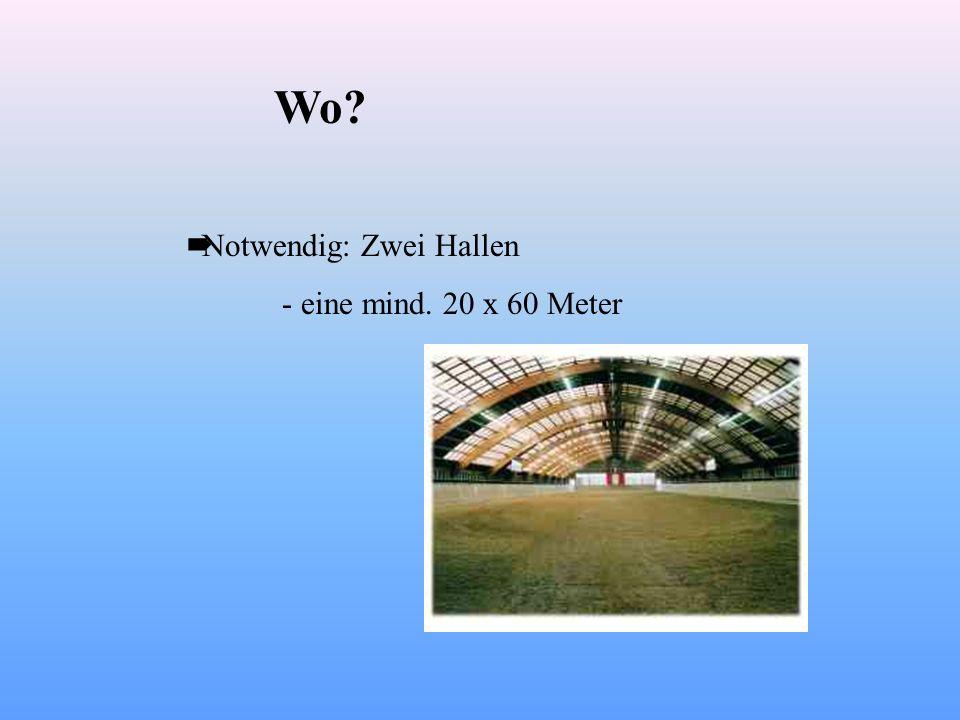 Wo? Notwendig: Zwei Hallen - eine mind. 20 x 60 Meter