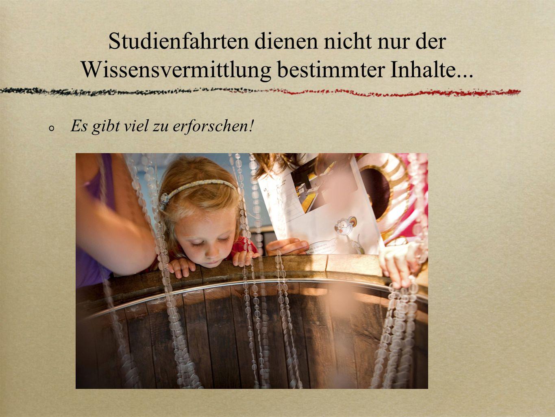 Studienfahrten dienen nicht nur der Wissensvermittlung bestimmter Inhalte... Es gibt viel zu erforschen!