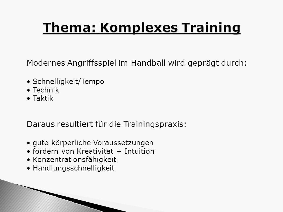 Modernes Angriffsspiel im Handball wird geprägt durch: Schnelligkeit/Tempo Technik Taktik Daraus resultiert für die Trainingspraxis: gute körperliche