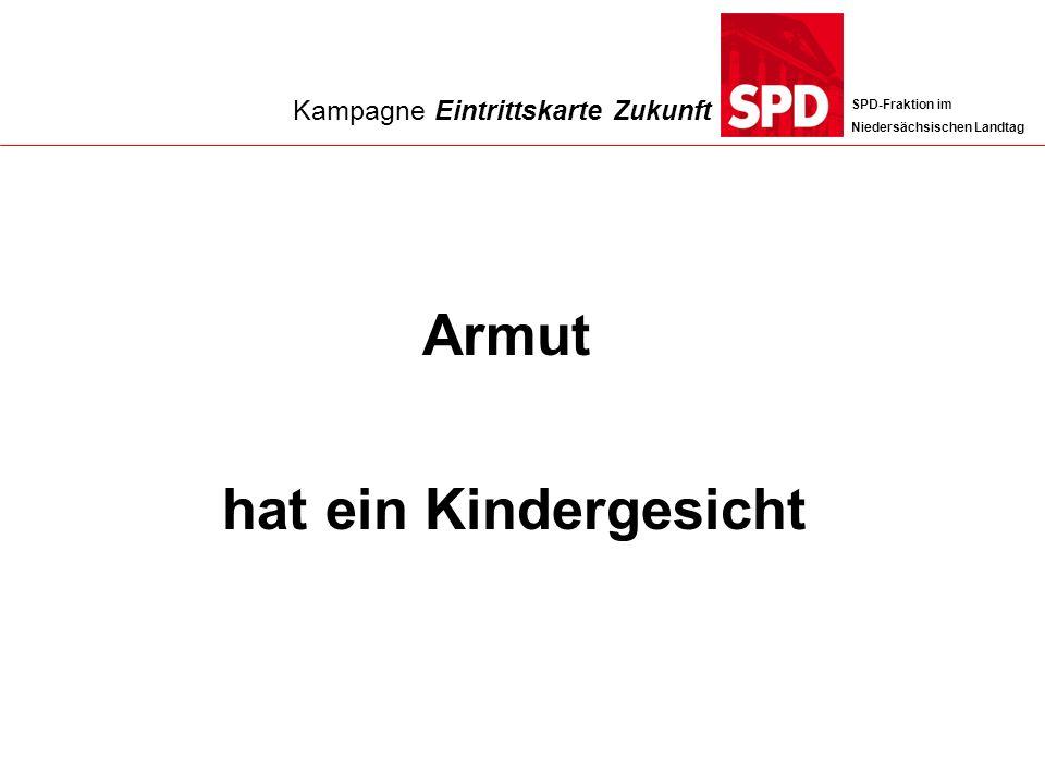 SPD-Fraktion im Niedersächsischen Landtag Armut hat ein Kindergesicht Kampagne Eintrittskarte Zukunft