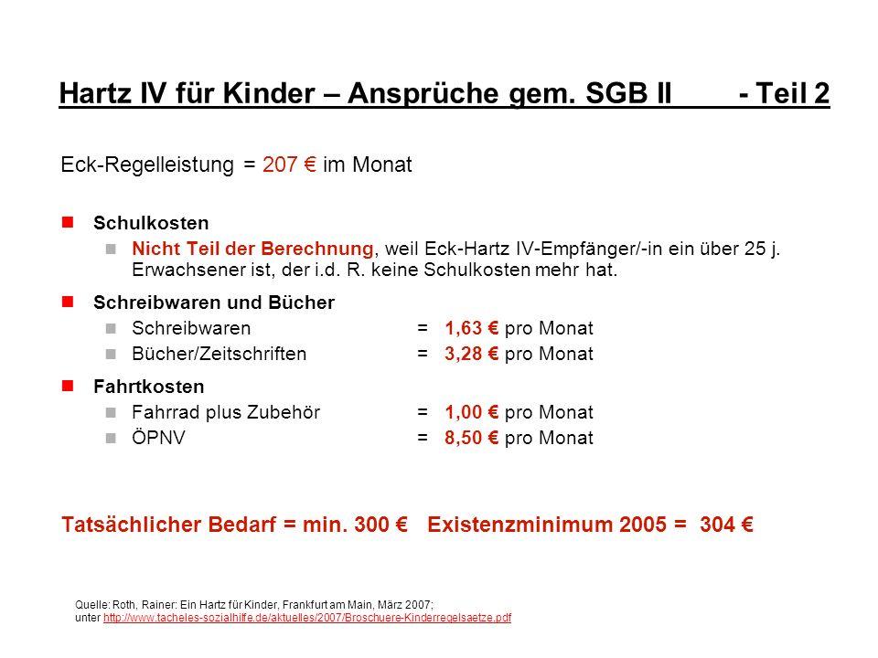 Hartz IV für Kinder – Ansprüche gem. SGB II - Teil 2 Eck-Regelleistung = 207 im Monat Schulkosten Nicht Teil der Berechnung, weil Eck-Hartz IV-Empfäng