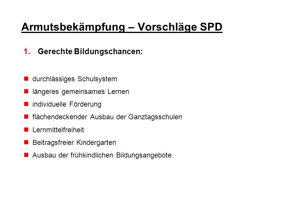 Armutsbekämpfung – Vorschläge SPD 1.Gerechte Bildungschancen: durchlässiges Schulsystem längeres gemeinsames Lernen individuelle Förderung flächendeck