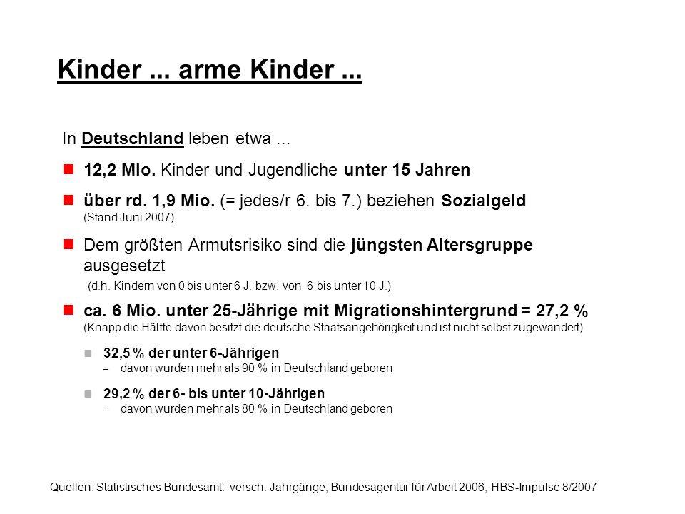 Kinder... arme Kinder... In Deutschland leben etwa... 12,2 Mio. Kinder und Jugendliche unter 15 Jahren über rd. 1,9 Mio. (= jedes/r 6. bis 7.) beziehe