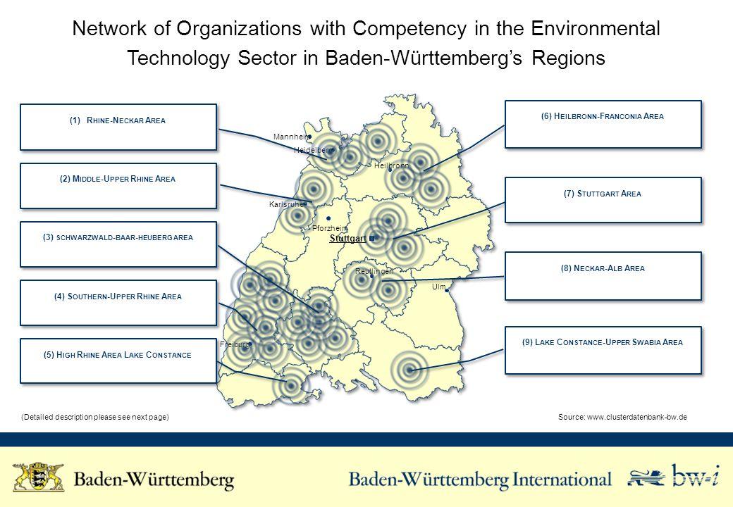 Karlsruhe Freiburg Stuttgart Ulm Pforzheim Reutlingen Heilbronn Heidelberg Mannheim Network of Organizations with Competency in the Environmental Tech