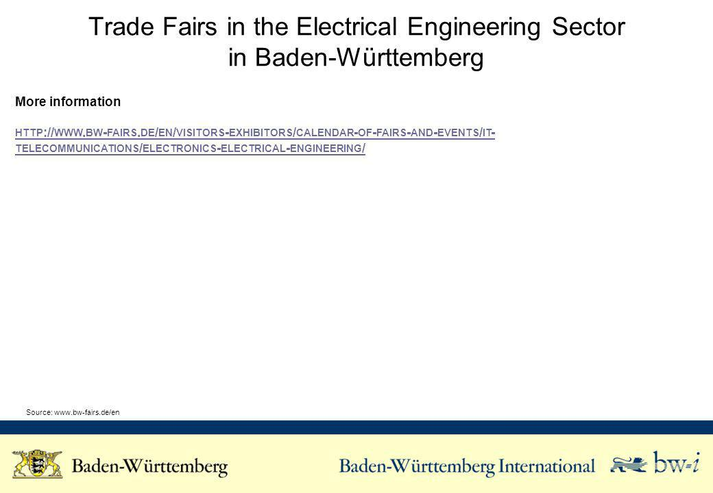 Trade Fairs in the Electrical Engineering Sector in Baden-Württemberg More information HTTP :// WWW.