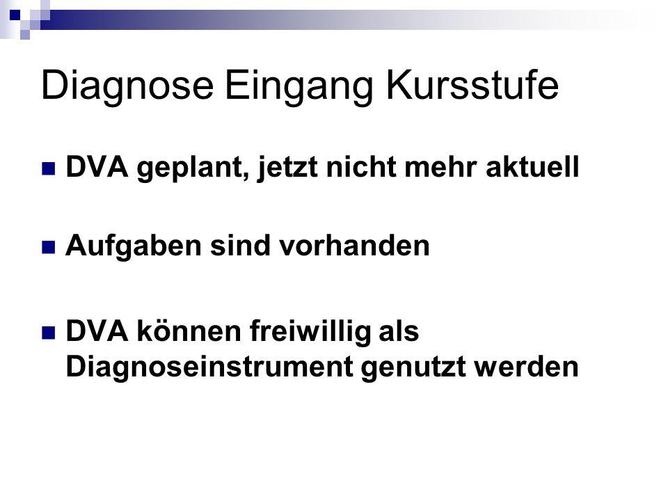Diagnose Eingang Kursstufe DVA geplant, jetzt nicht mehr aktuell Aufgaben sind vorhanden DVA können freiwillig als Diagnoseinstrument genutzt werden