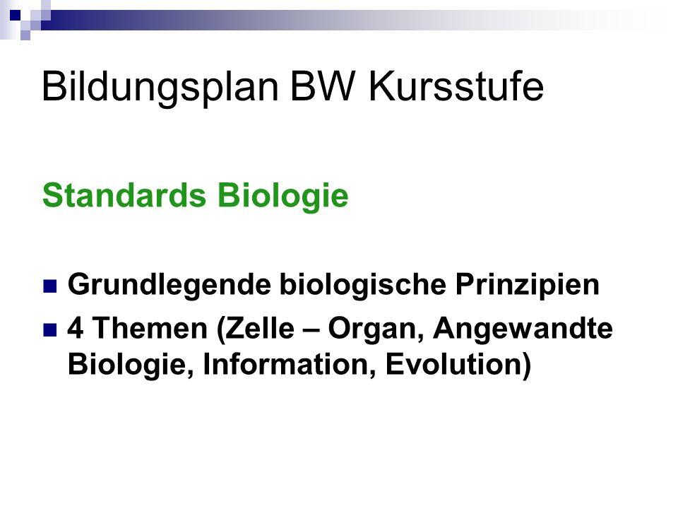 Bildungsplan BW Kursstufe Standards Naturwissenschaften Experimentieren, Modellbildung,..