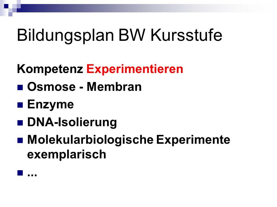 Bildungsplan BW Kursstufe Kompetenz Experimentieren Osmose - Membran Enzyme DNA-Isolierung Molekularbiologische Experimente exemplarisch...