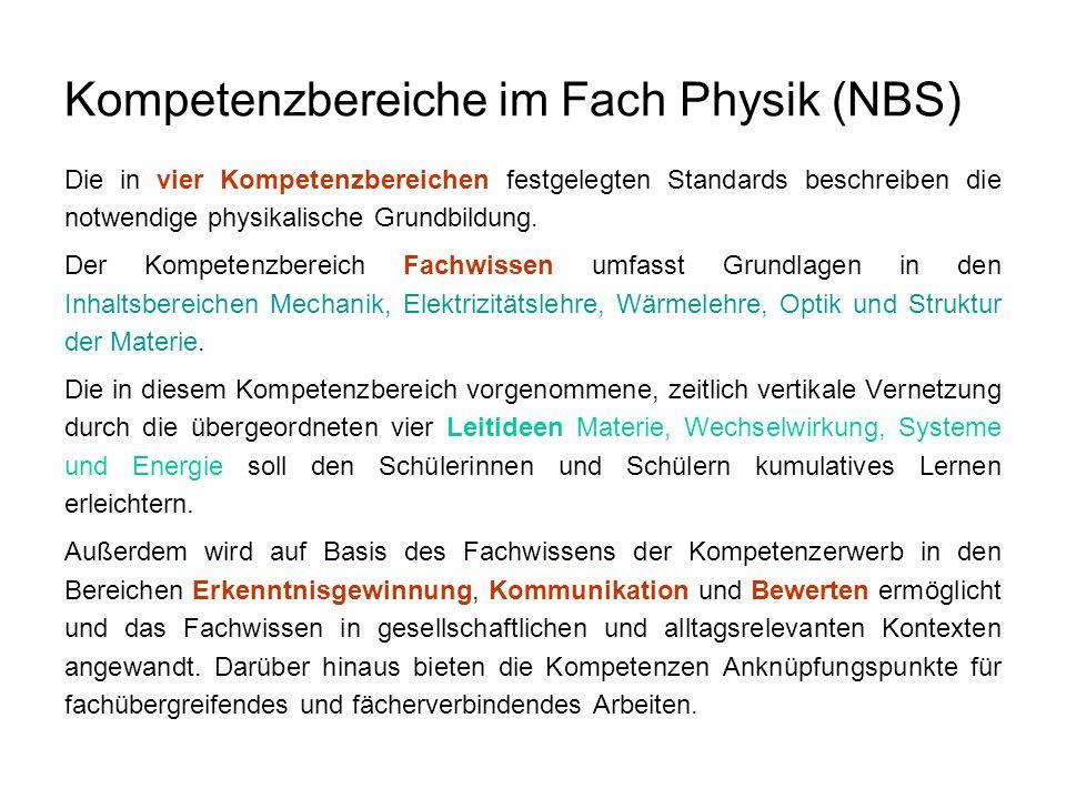 Kompetenzbereiche im Fach Physik (NBS) Die in vier Kompetenzbereichen festgelegten Standards beschreiben die notwendige physikalische Grundbildung. De