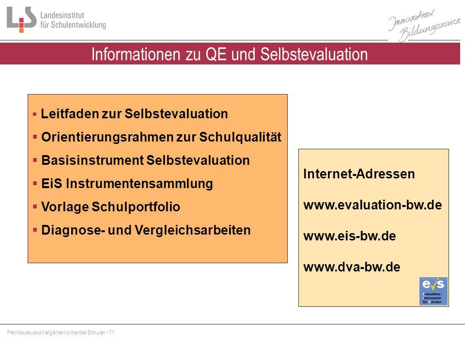 Fremdevaluation allgemein bildender Schulen - 11 Internet-Adressen www.evaluation-bw.de www.eis-bw.de www.dva-bw.de Leitfaden zur Selbstevaluation Ori