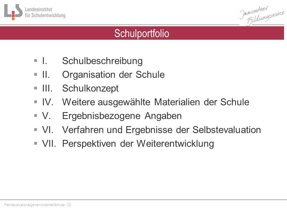 Fremdevaluation allgemein bildender Schulen - 33 Schulportfolio I. Schulbeschreibung II.Organisation der Schule III. Schulkonzept IV.Weitere ausgewähl