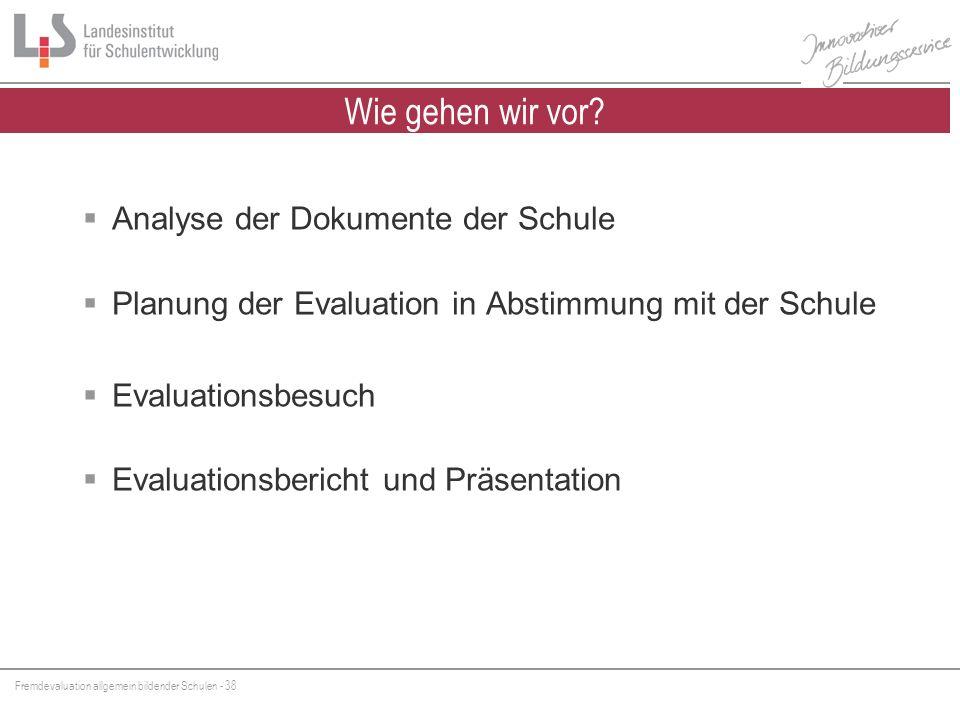 Fremdevaluation allgemein bildender Schulen - 38 Analyse der Dokumente der Schule Planung der Evaluation in Abstimmung mit der Schule Evaluationsbesuc